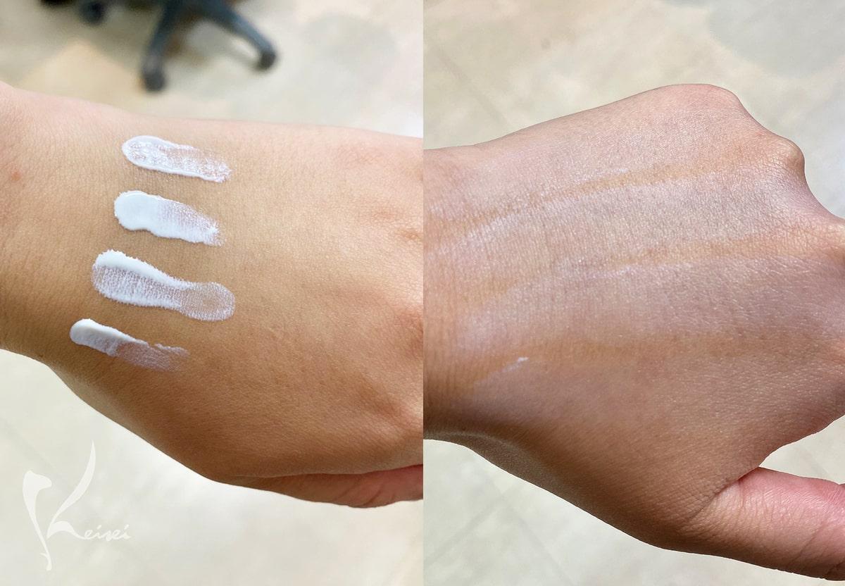 4種類の日焼け止めを手の甲に付けて伸ばした状態の画像