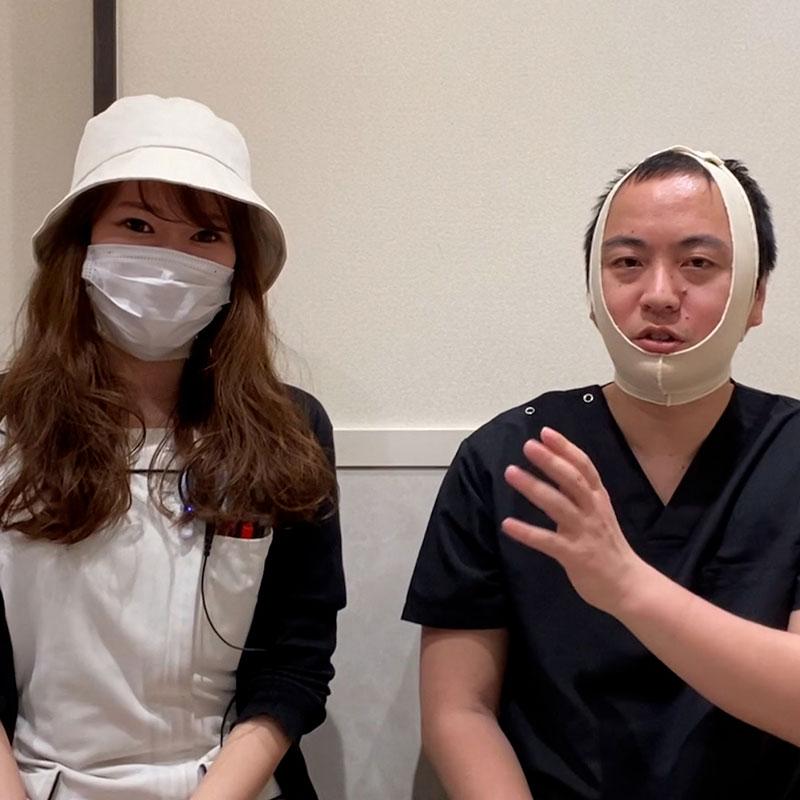 顔の脂肪吸引のフェイスバンドを帽子とマスクで隠した例